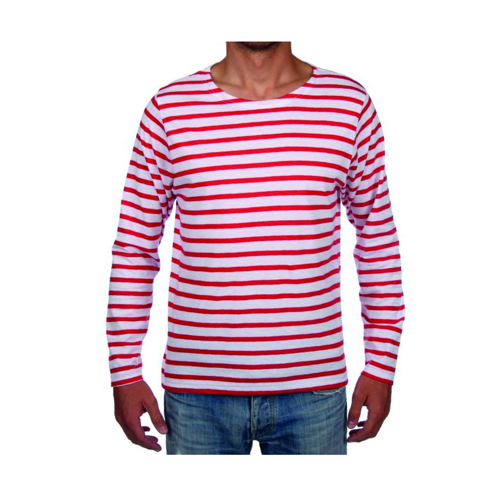 Rojo Pêcheur Rayas Marinera Hombre Blanco Camiseta wqZP4Bn
