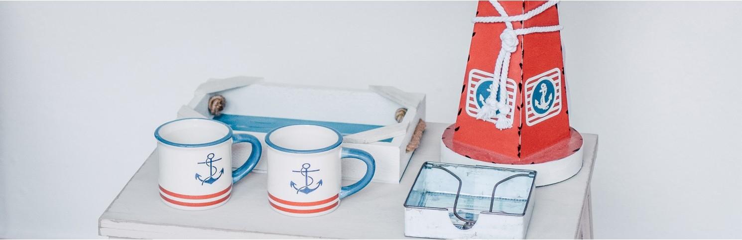 mugs, vaisselle nautique, porcelaine, céramique, verres marins, plateaux, table marine