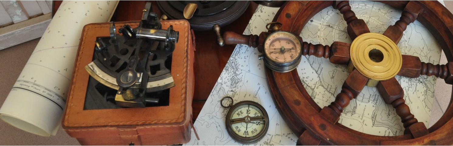 Compass, sundial, bell, whistle, horn, spyglass, telescope, globe, sextant, telegraph, logbook