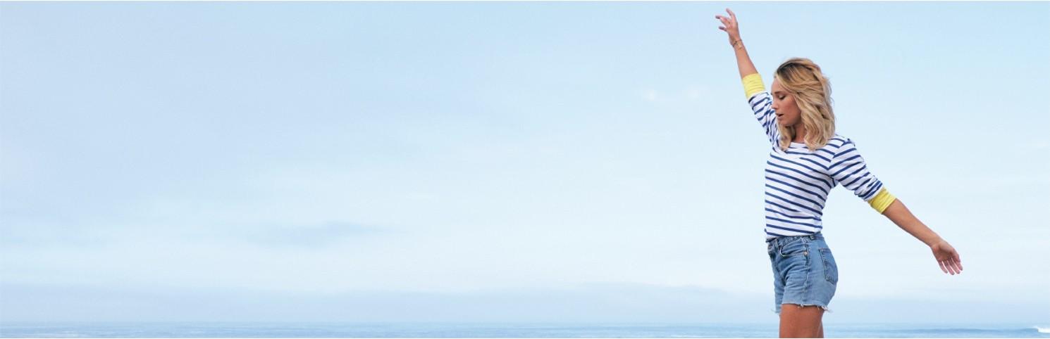 moda marina, mujer, hublot, ropa náutica, camiseta rayas, chubasquero, bermudas, pantalones verano hublot