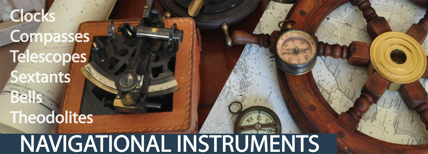 navigational instruments, clocks, compasses, telescopes, sextants, bells, theodolites