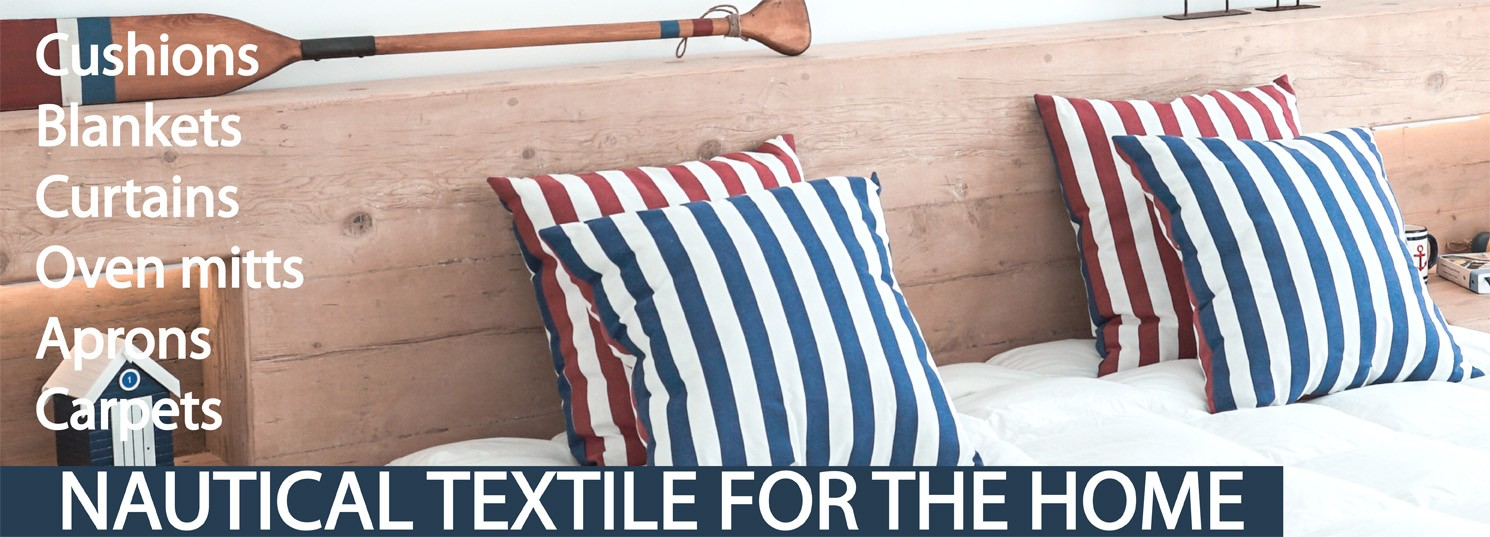 nautical textile for home, cushions, blankets, curtains, oven mitts, carpets, aprons